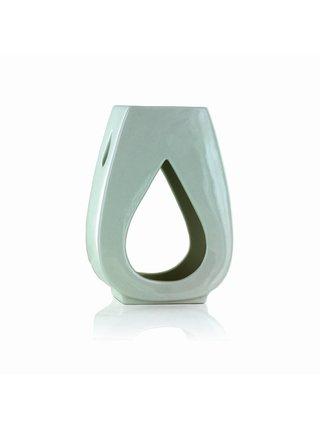 Aromalampa DROPLET na vonný olej, bílá glazovaná keramika