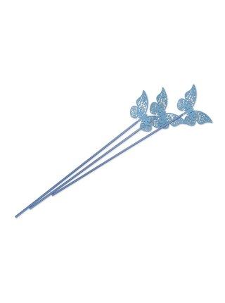 Tyčinky do difuzéru, polyester, modré s motýlem, 3 ks, délka 28 cm