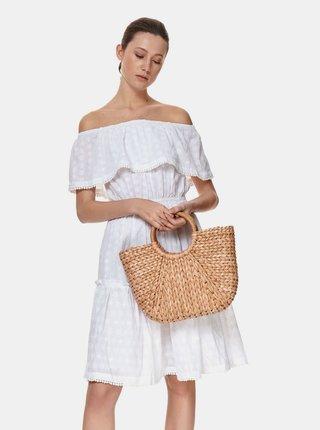 Biele kvetované šaty s odhalenými ramenami TOP SECRET