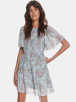 Světle modré vzorované plisované šaty TOP SECRET