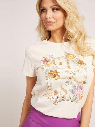 Béžové dámske tričko s potlačou Guess Rosses
