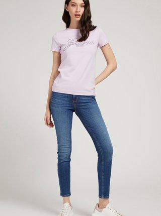 Světle fialové dámské tričko s potiskem Guess Selina