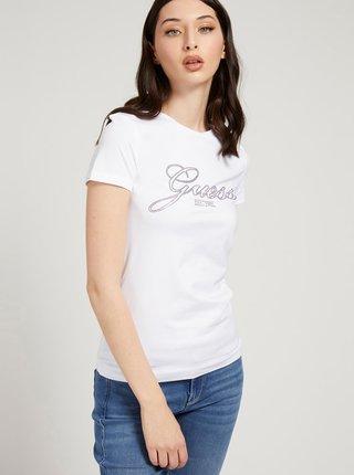 Biele dámske tričko s potlačou Guess Selina