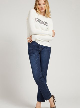 Krémový dámsky ľahký sveter s ozdobnými detailmi Guess Elvire