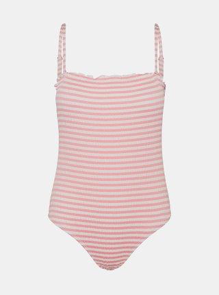Bielo-ružové pruhované jednodielne plavky VERO MODA Emily