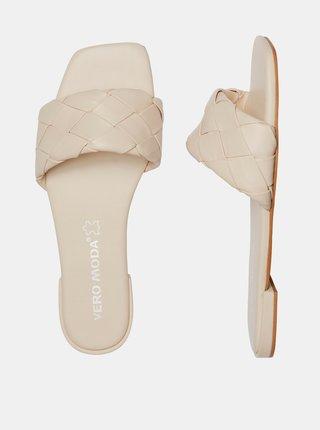 Krémové kožené pantofle VERO MODA May