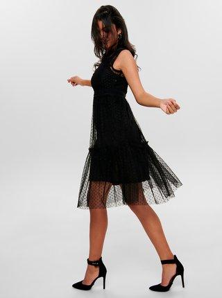 Čierne krajkové šaty so stojačikom Jacqueline de Yong Line