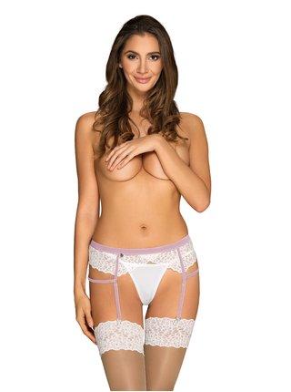 Smyslný podvazkový pás Lilyanne garter belt - Obsessive bílá