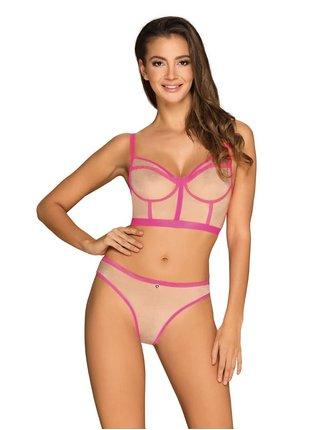 Smyslný set Nudelia top & panties neon pink - Obsessive růžová