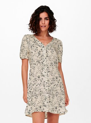 Krémové kvetované šaty s gombíkmi Jacqueline de Yong Staar