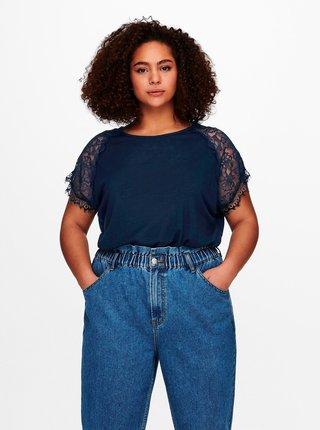 Tmavě modré tričko s krajkou ONLY CARMAKOMA Celine
