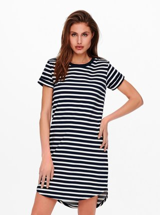 Bílo-modré pruhované basic šaty Jacqueline de Yong Ivy