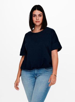 Tmavomodré tričko so sťahovaním ONLY CARMAKOMA Issy