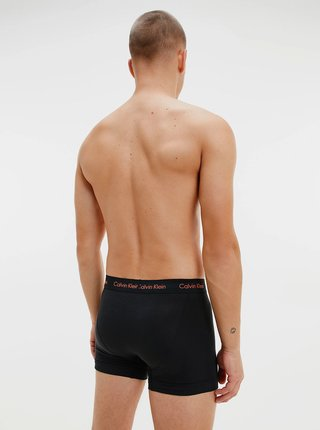 Calvin Klein černý 3 pack boxerek Cotton Stretch Black w. Wave Light Red/Pewter/Winterberry Logos