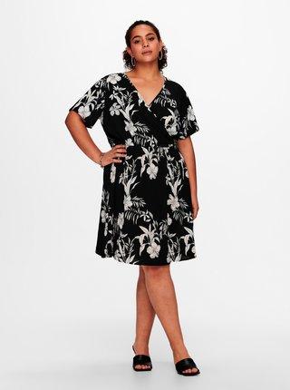 Čierne kvetované šaty ONLY CARMAKOMA Luxina