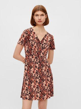 Čierno-oranžové kvetované šaty Pieces Emanuelle