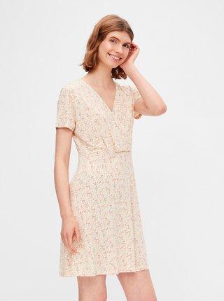 Béžové kvetované šaty Pieces Emanuelle