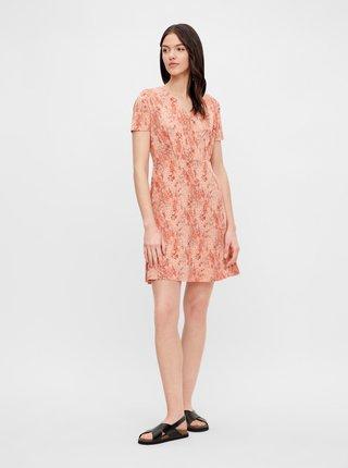 Oranžové kvetované šaty Pieces Emanuelle