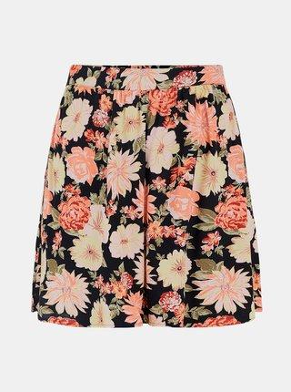 Růžovo-černá květovaná sukně Pieces Nya