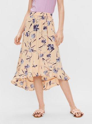 Meruňková květovaná midi sukně Pieces Lillian