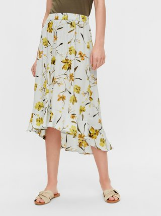 Svetlomodrá kvetovaná midi sukňa Pieces Lillian