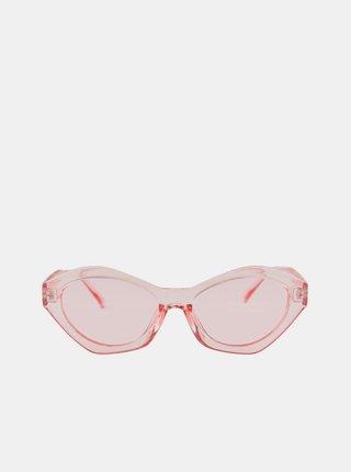 Růžové sluneční transparentní brýle Pieces Laura