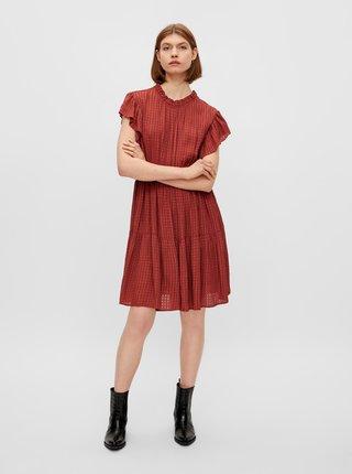 Hnedé vzorované šaty s volánmi Pieces Liz