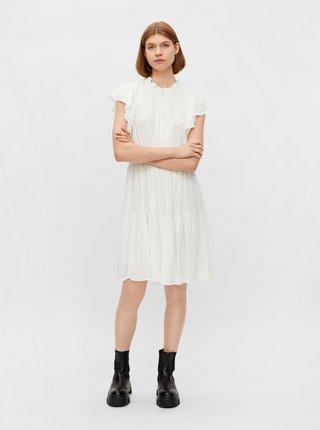 Bílé vzorované šaty s volánky Pieces Liz
