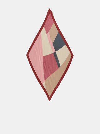 Béžovo-vínový vzorovaný šátek Pieces Lexis
