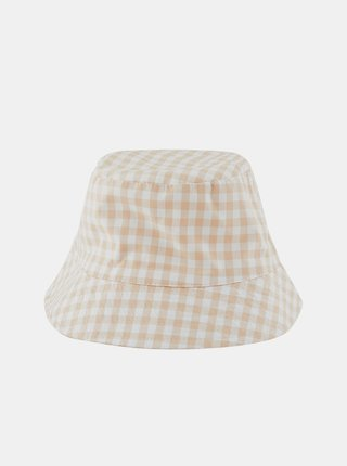 Bílo-béžový kostkovaný klobouk Pieces Laya