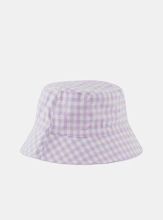 Bílo-fialový kostkovaný klobouk Pieces Laya