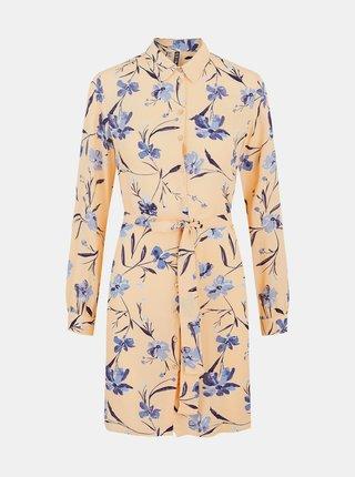 Meruňkové květované košilové šaty Pieces Lillian