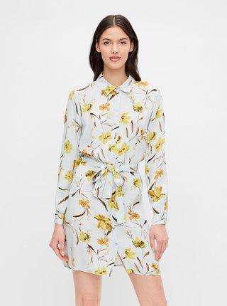 Světle modré květované košilové šaty Pieces Lillian