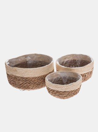 Sada tří hnědo-béžových slaměných košů Dakls