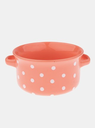 Oranžová bodkovaná keramická miska Dakls