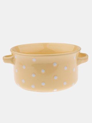 Žltá bodkovaná keramická miska Dakls