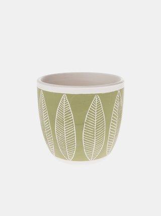 Zelený vzorovaný keramický kvetináč Dakls