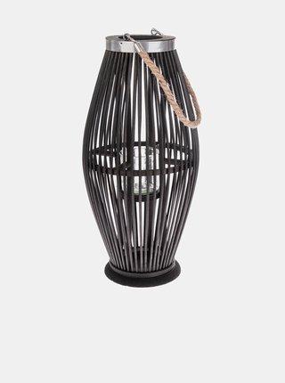 Černá bambusová lucerna se sklem Dakls