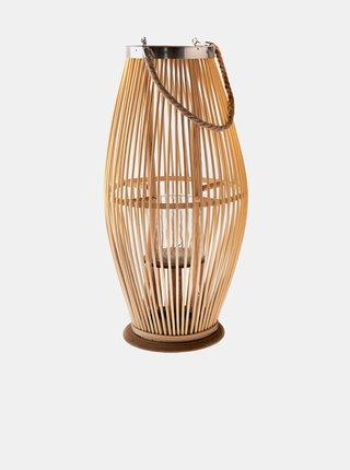 Hnědá bambusová lucerna se sklem Dakls