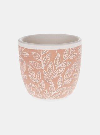 Oranžový vzorovaný keramický květináč Dakls