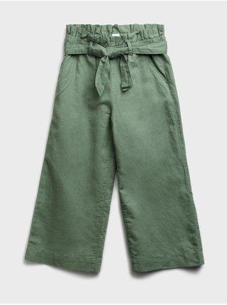Zelené holčičí dětské kalhoty pull-on wide-leg crop pants GAP