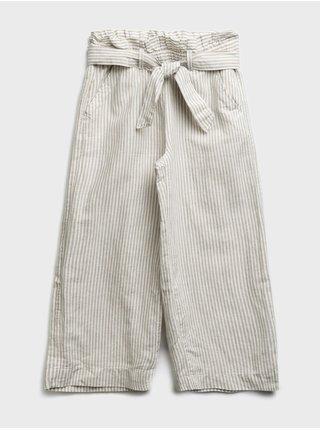 Šedé holčičí dětské kalhoty pull-on wide-leg crop pants GAP