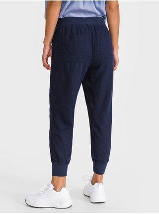 Modré dámské kalhoty rib linen utility joggers GAP