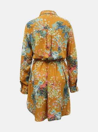 Oranžové kvetované košeľové šaty Anany Cora Amarillo