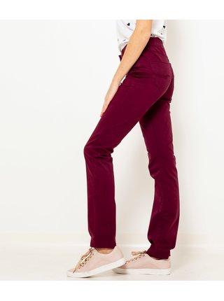 Vínové straight fit kalhoty CAMAIEU