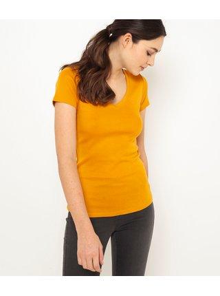 Topy a tričká pre ženy CAMAIEU - horčicová