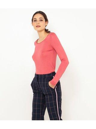 Tričká s dlhým rukávom pre ženy CAMAIEU - ružová