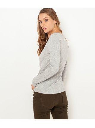 Tričká s dlhým rukávom pre ženy CAMAIEU - svetlosivá