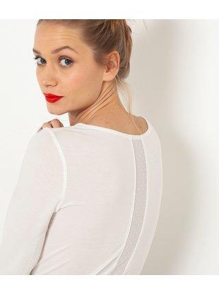 Tričká s dlhým rukávom pre ženy CAMAIEU - biela