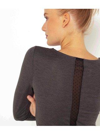 Šedé tričko s průsvitným detailem na zádech CAMAIEU